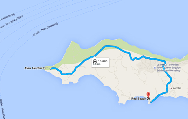 Route from Akrotiri Lighthouse to Red beach