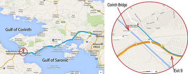 Map to Corinth Bridge