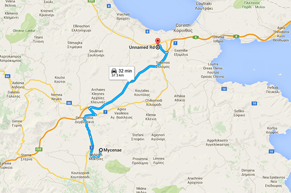 route to Mycenae