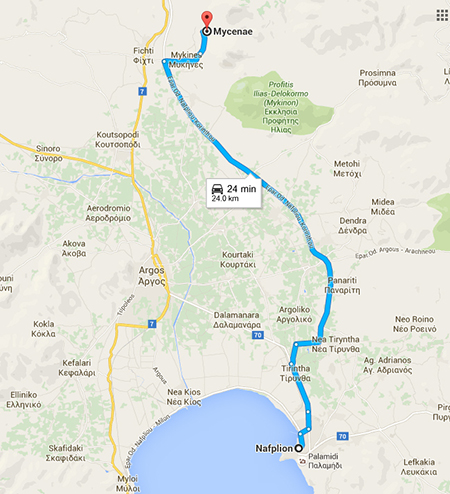 route from Mycenae to Nafplion