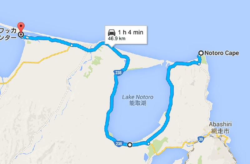 Route around Lake Notoro