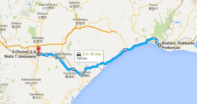 route to Obihiro city