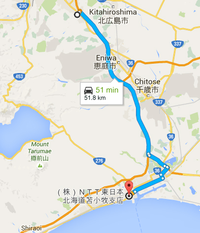 route from Mitsui Outlet to Hotel at Tomakomai