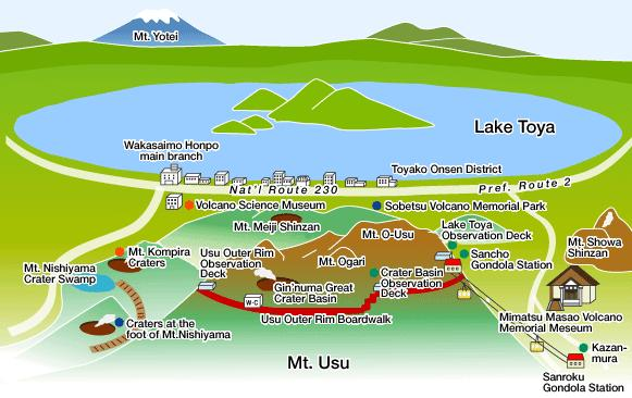 Layout of Lake Toya and its Surrounding Mountains