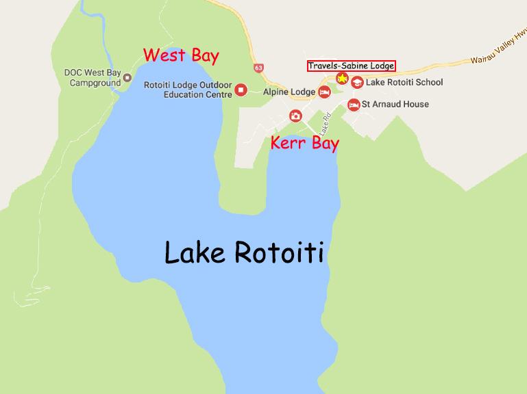 Map of Lake Rotoiti and its surrounding