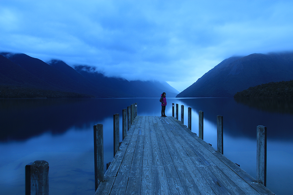 Jetty at Lake Rotoiti after a drizzle