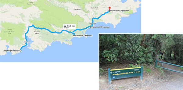 Route to Purakaunui Falls