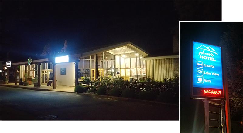 Night scene of Wanaka Hotel