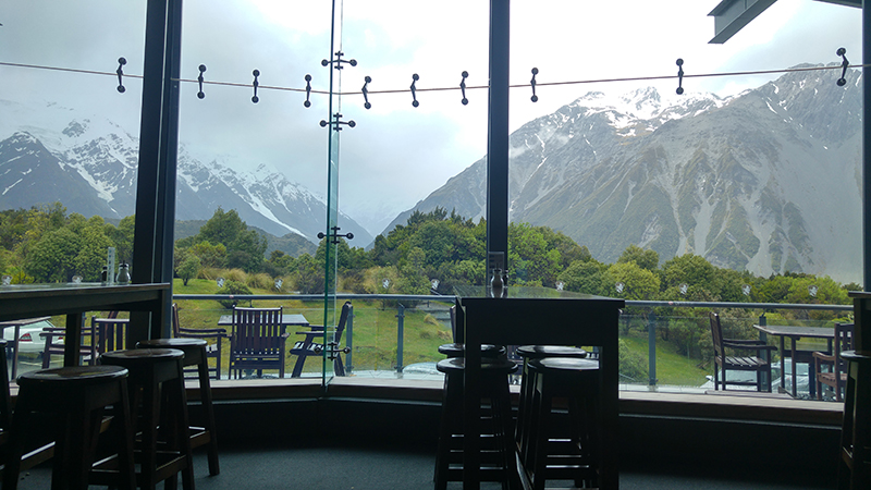 Coffee Break at Cafe of Hermitage Hotel, Mount Cook Village