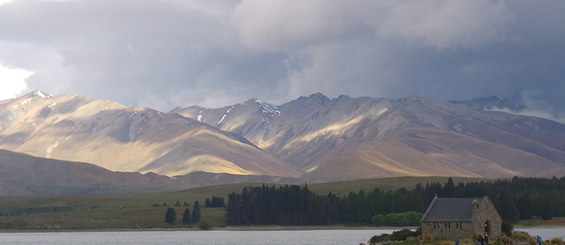 Lake Tekapo at 6.30 pm on a non raining day