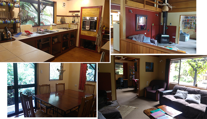 Shared Kitchen, dining hall, sitting rooms in Te-Ruru Lodge