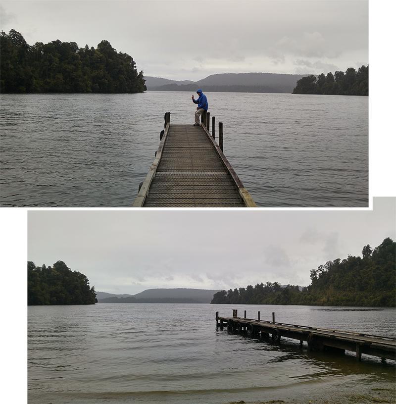 Lake Mapourika on a gloomy day