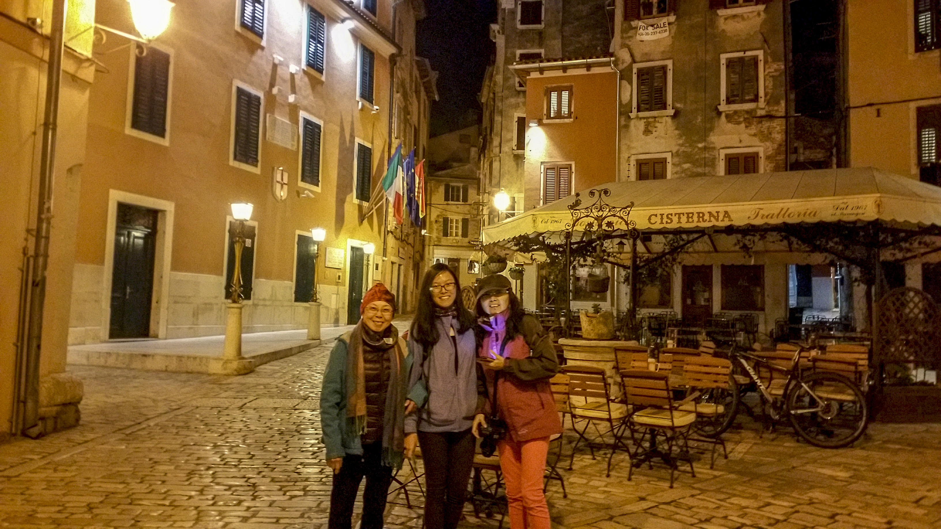 Night out on the street of Rovinj Old Town