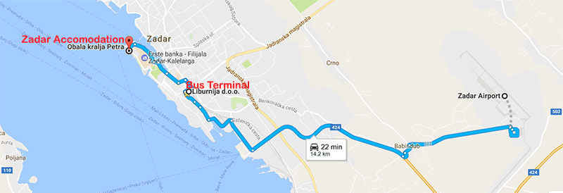 Route to Zadar Town