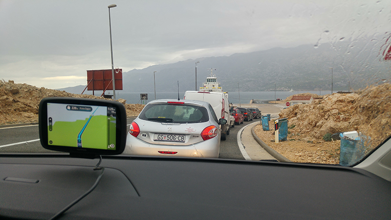 Queue to a car ferry
