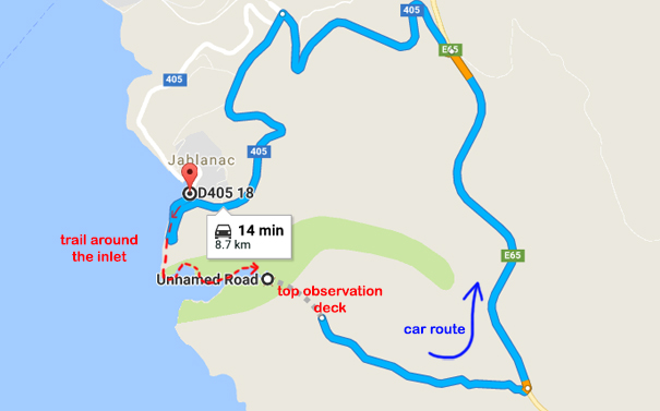 Driving route from top view point to Jablanac