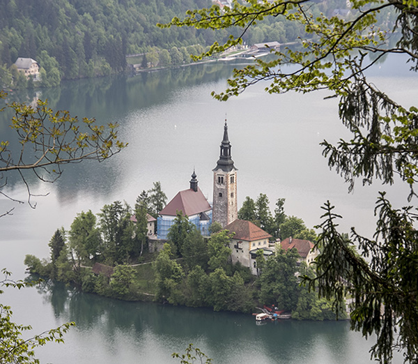 A zoom in to Bled island from the observatory deck