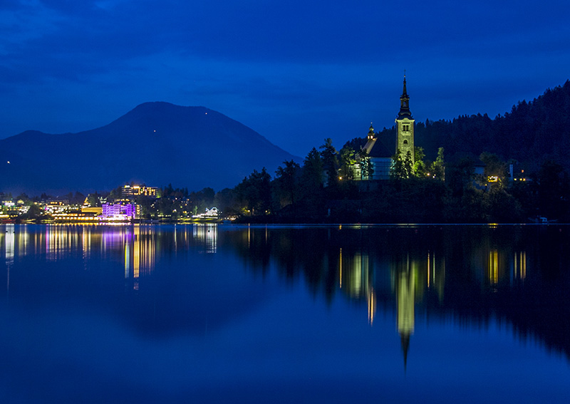 Bled Lake at 8 pm