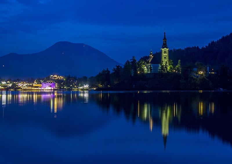 Bled Lake at 8 pm
