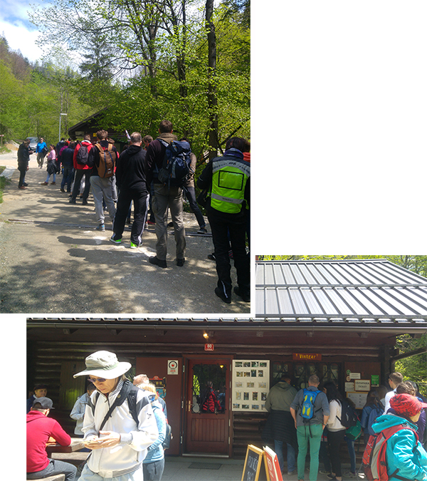 Long queue to the entrance of Vintgar Gorge
