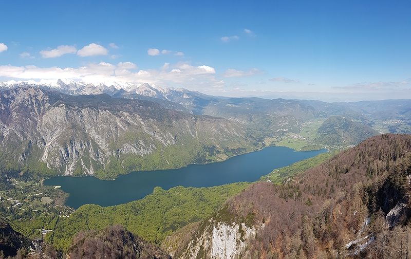 Lake Bohinj as seen from the upper cable car station