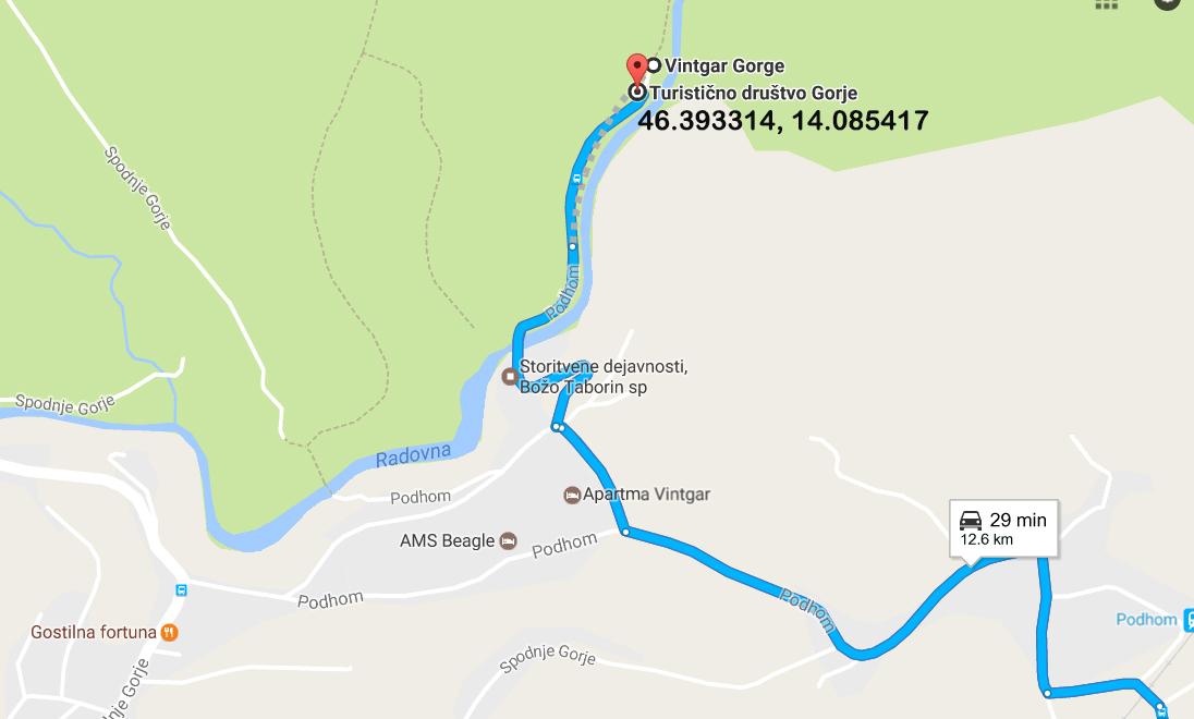 Route to Vintgar Gorge carpark (co-ords: 46.393314, 14.085417)
