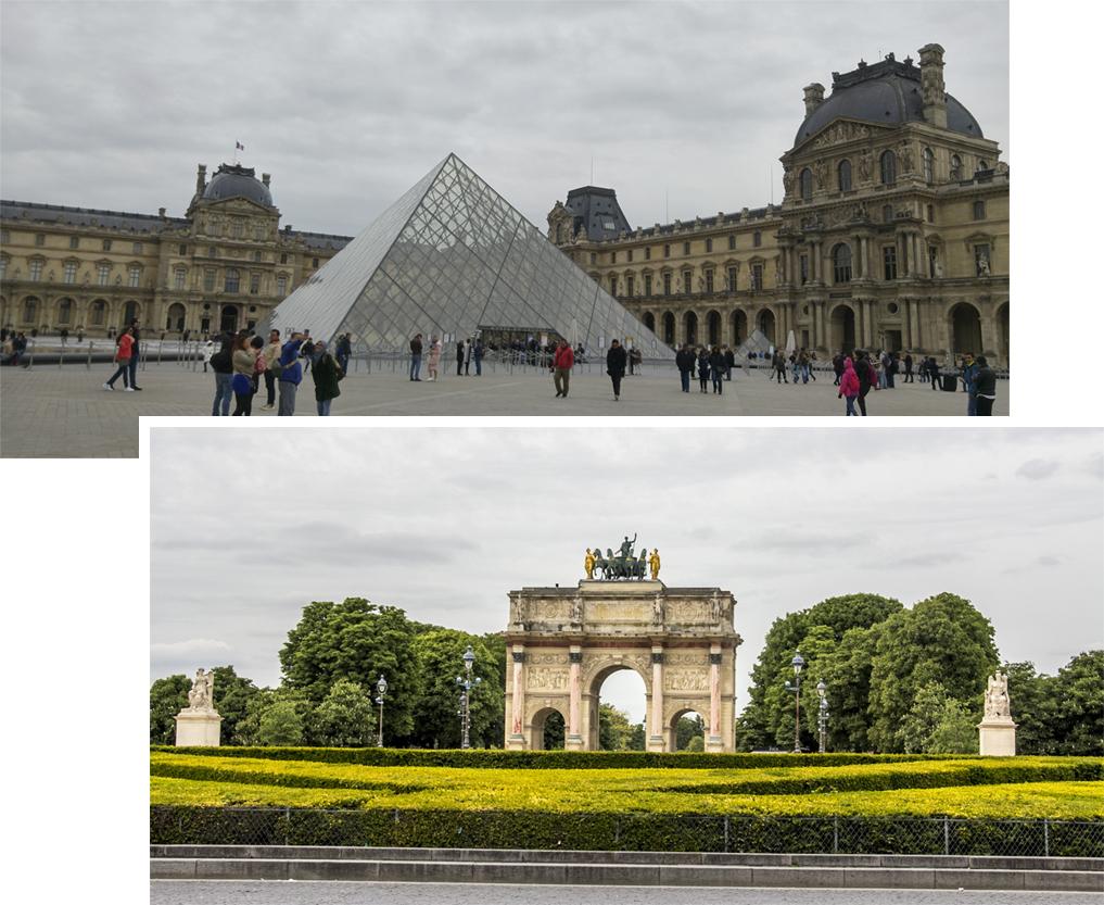 The Lourve and Carrousel Arc de Triomphe