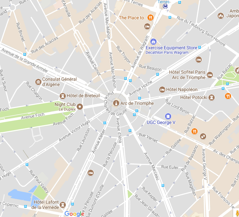 Map of Arc de Triomphe and its surrounding