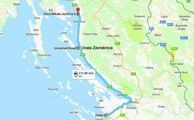 Route for the day (Zadar to Uvala Zavraknica to Senj)