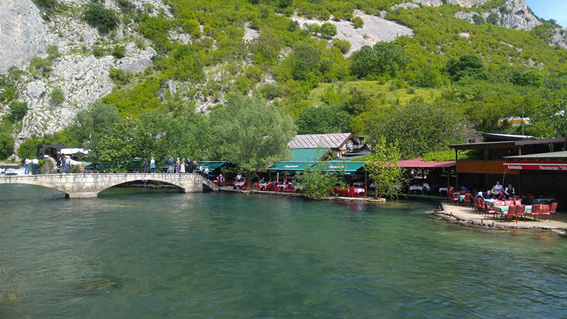 Restaurants and cafes on the bank of Buna river near Vrelo Bune