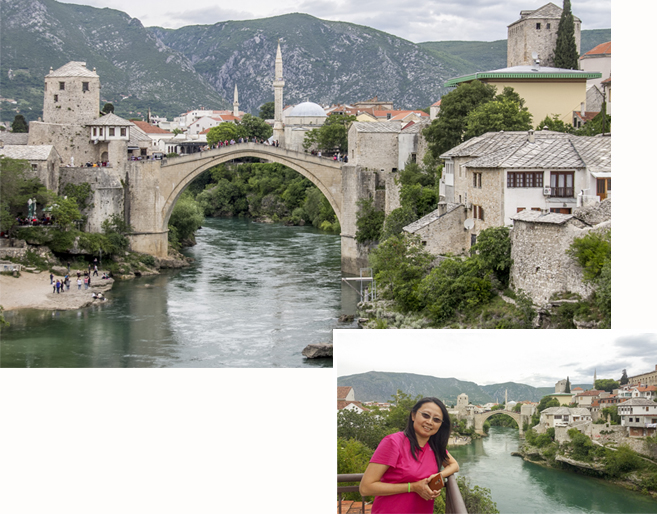 Old Bridge, Stari Most, as seen from the balcony of our room