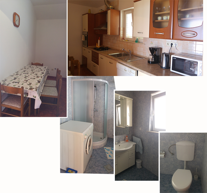 Kitchen and toilet in Apartment Karmen