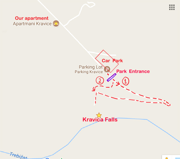 Map of Kravica Falls and its surrounding