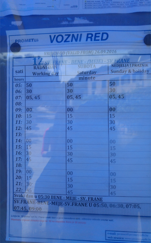 Bus schedule of Bus plying between Split Old town (near Riva) to Bene Beach