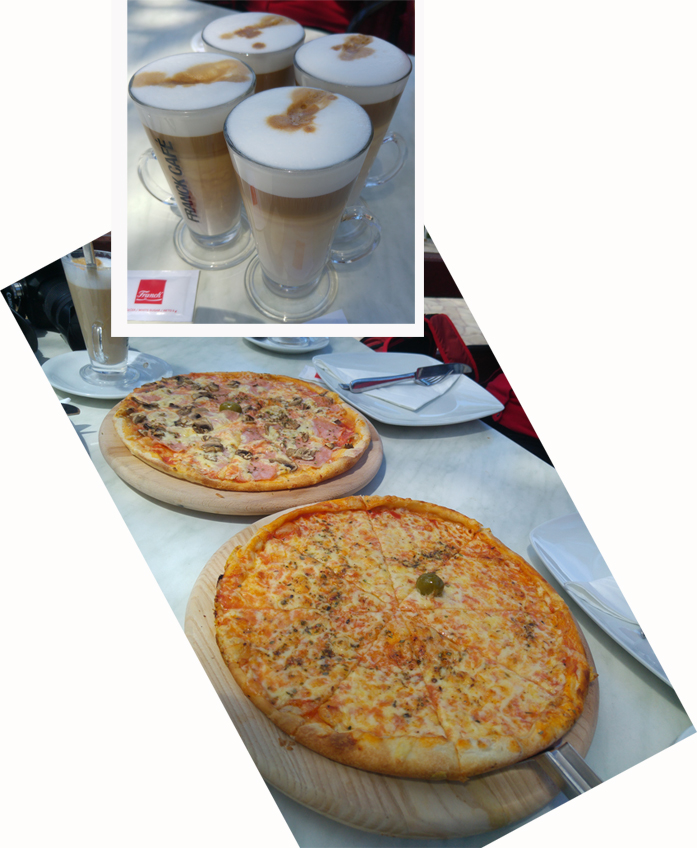 Pizza and cafe latte for lunch