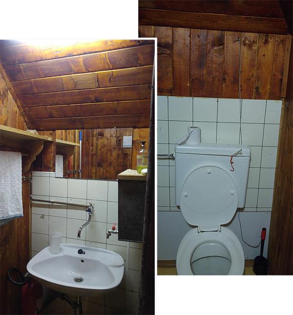 Toilet and wash basin. No hot water! No shower!