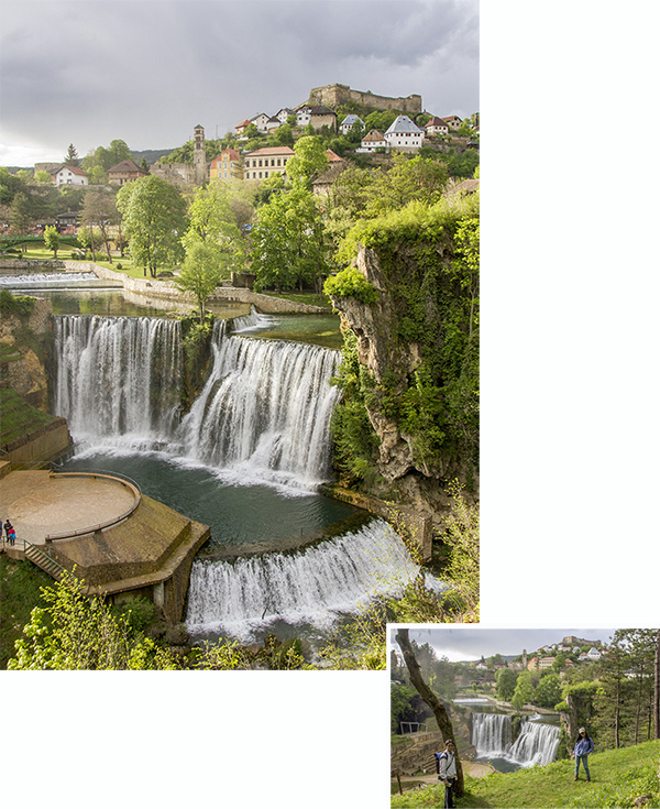 Jajce falls and Old town as seen from across Vrbas River