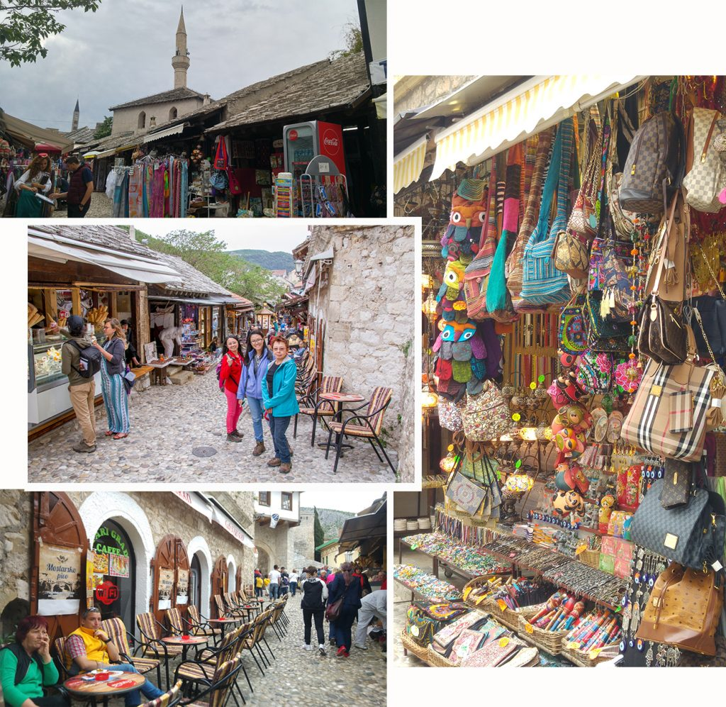 Colourful streets of old town Mostar