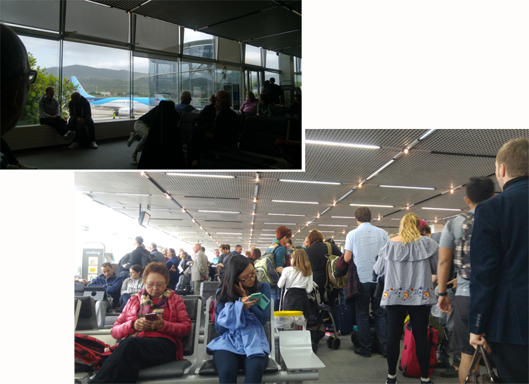 Crowded departure hall at Split airport