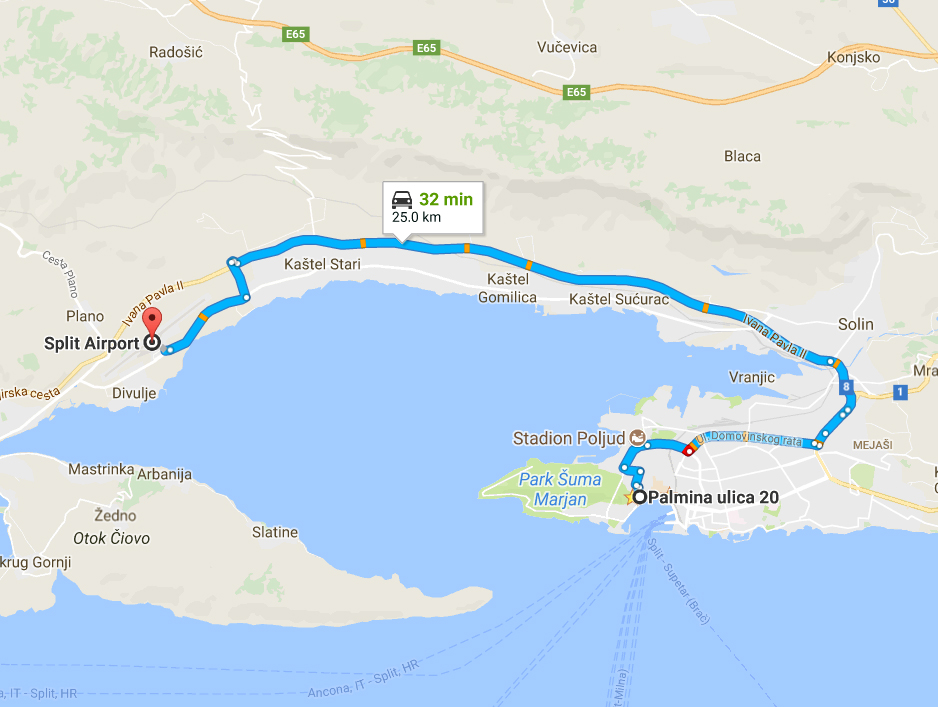 Route from Split Old town to Split Airport