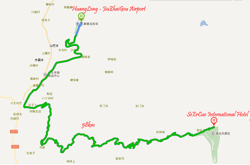 Route to SeErCuo International Hotel at HuangLong
