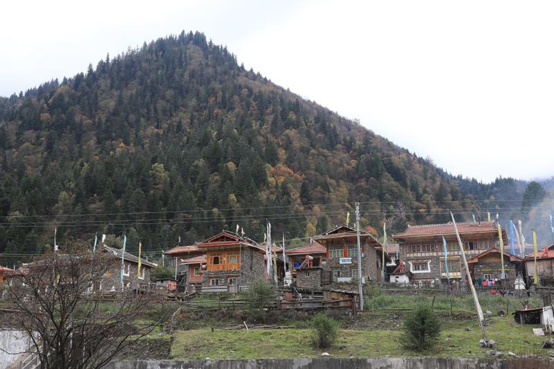 A Tibetan Village in DaGu Glacier Scenic Reserve