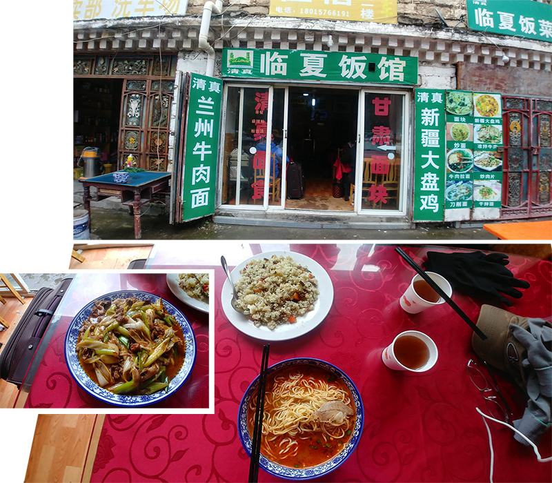 Lunch at a small eatery beside the bus terminal