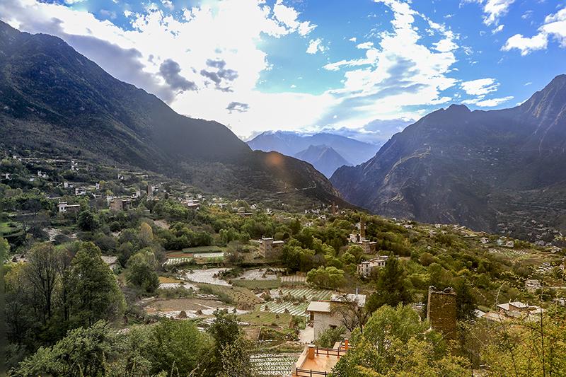 Tibetan villages as seen for a high view point