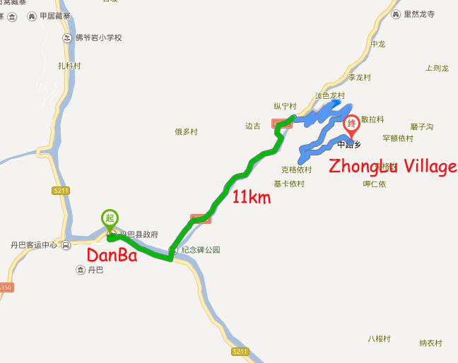 DanBa town to ZhongLu Village