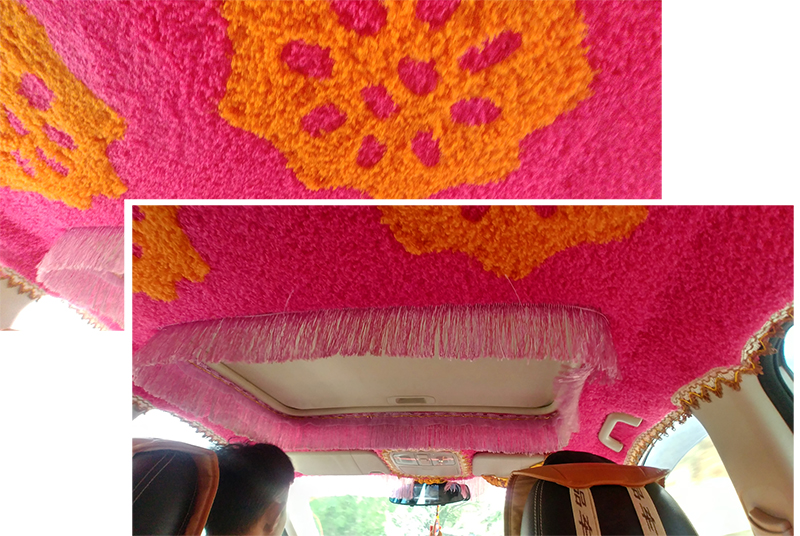 Shocking Pink Decor in the shared-hired SUV
