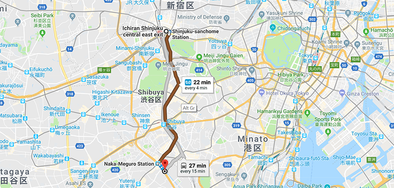 Getting to Naka-Meguro Station