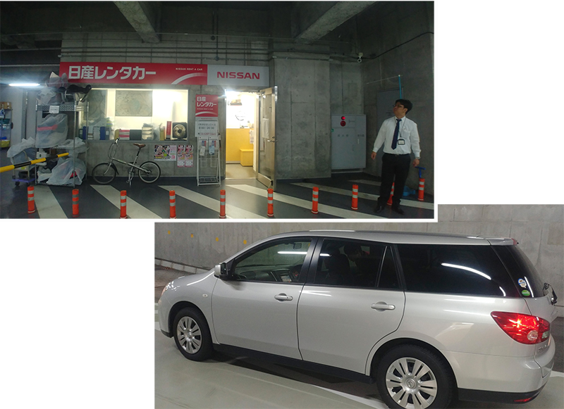 Picking up our rental Station Wagon at Nissan Rental outlet (Akihabara Ekimae)
