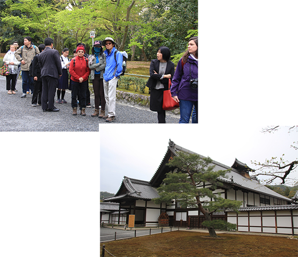 Long queue in the early morning at the entrance of Kinkakuji