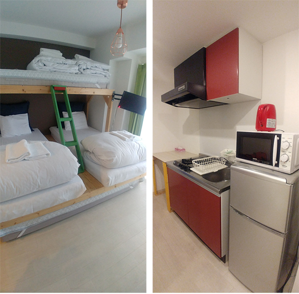 Sleeping room and kitchen
